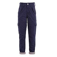 Buy John Lewis Boys' Lined Cargo Trousers, Navy Online at johnlewis.com