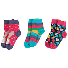 Buy Frugi Organic Baby Heart And Rabbit Socks, Pack of 3 Online at johnlewis.com