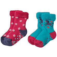 Buy Frugi Organic Baby Horse Spots Grip Socks, Pack of 2, Assorted Online at johnlewis.com
