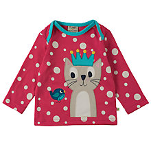 Buy Frugi Organic Baby Crown Cat Top, Pink Online at johnlewis.com