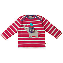 Buy Frugi Organic Baby Elephant Appliqué Stripe Top, Pink/Multi Online at johnlewis.com