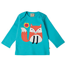 Buy Frugi Organic Baby Fox Applique Top, Aqua Online at johnlewis.com