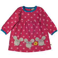 Buy Frugi Organic Baby Spotted Mouse Dress, Pink Online at johnlewis.com