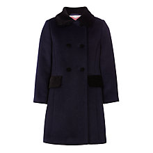 Buy John Lewis Girls' Formal Velvet Collar Coat, Peacoat Online at johnlewis.com