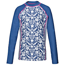 Buy Fat Face Girls' Seaside Print Rash Vest, Blue Online at johnlewis.com