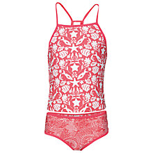 Buy Fat Face Girls' Seaside Print Tankini Swimsuit, Coral Online at johnlewis.com