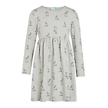 Buy John Lewis Girls' Rabbit Print Dress, Grey Online at johnlewis.com