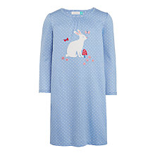 Buy John Lewis Girls' Bunny Appliqué Polka Dot Nightdress, Blue/Multi Online at johnlewis.com