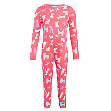 Buy John Lewis Girls' Dog Onesie, Pink Online at johnlewis.com