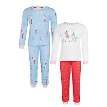 Buy John Lewis Girls' Paris Dog Print Pyjamas, Pack of 2, Blue Online at johnlewis.com