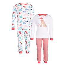 Buy John Lewis Girls' Dog Print Pyjamas, Pack of 2, White/Pink Online at johnlewis.com