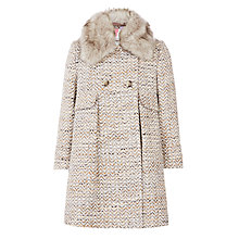 Buy John Lewis Girls' Faux Fur Collar Glitter Coat, Grey Online at johnlewis.com