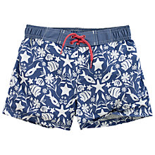 Buy Fat Face Girls' Seaside Print Boardie Shorts, Blue Online at johnlewis.com