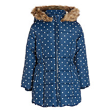 Buy John Lewis Girls' Longline Spotted Coat, Navy Online at johnlewis.com