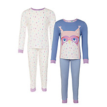 Buy John Lewis Children's Owl Pyjamas, Pack of 2, Blue Multi Online at johnlewis.com