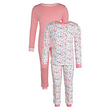 Buy John Lewis Girls' Bird Vintage Pyjamas, Pack of 2, Pink/White Online at johnlewis.com