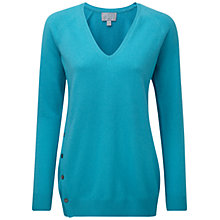 Buy Pure Collection Jackson Cashmere Button Side Sweater, Vivid Turquoise Online at johnlewis.com