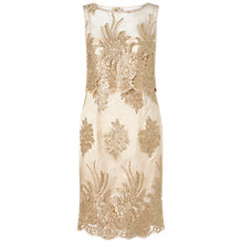 Buy Adrianna Papell Metallic Corded Lace Popover Dress, Gold Online at johnlewis.com