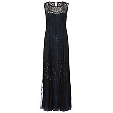 Buy Adrianna Papell Sleeveless Fully Beaded Gown, Black/Blue Online at johnlewis.com