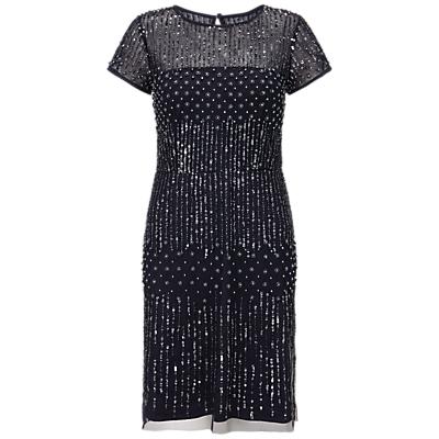 Adrianna Papell Short Sleeve Beaded Cocktail Dress, Navy