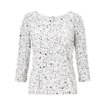 Buy Adrianna Papell Three-Quarter Sleeve Boat Neck Beaded Top Online at johnlewis.com