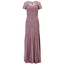 Buy Adrianna Papell Floral Beaded Gown, Dusty Pink Online at johnlewis.com