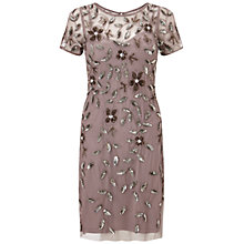 Buy Adrianna Papell Short Sleeve Beaded Cocktail Dress, Stone Pink Online at johnlewis.com