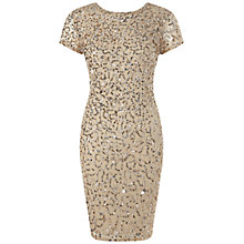 Buy Adrianna Papell Shutter Sleeve Beaded Cocktail Dress, Champagne/Silver Online at johnlewis.com