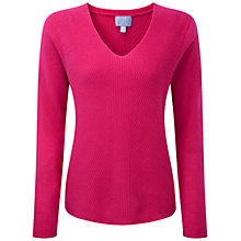 Buy Pure Collection Albyn Gassato Cashmere Chevron Rib Sweater, Sunset Pink Online at johnlewis.com