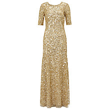 Buy Adrianna Papell Three-Quarter Sleeve Beaded Mermaid Dress, Gold Online at johnlewis.com