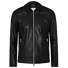 Buy Reiss Dylon Leather Stand Collar Jacket, Black Online at johnlewis.com