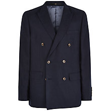 Buy Jaeger Linen Double Breasted Blazer, Navy Online at johnlewis.com