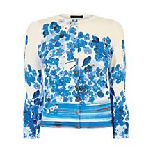 Buy Karen Millen Flower and Stripe Cardigan, Blue/Multi Online at johnlewis.com