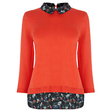 Buy Oasis Edie Print Layered Jumper, Orange Online at johnlewis.com