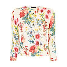Buy Karen Millen Floral Print Cardigan, White/Multi Online at johnlewis.com