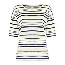Buy White Stuff Infused Jersey Stripe T-Shirt, White/Ebony Blue Online at johnlewis.com