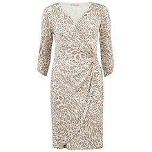 Buy Gina Bacconi Printed Jersey Ruched Dress, Beige Online at johnlewis.com