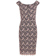 Buy Gina Bacconi Scalloped Lace Off Shoulder Dress, Bright Pink Online at johnlewis.com