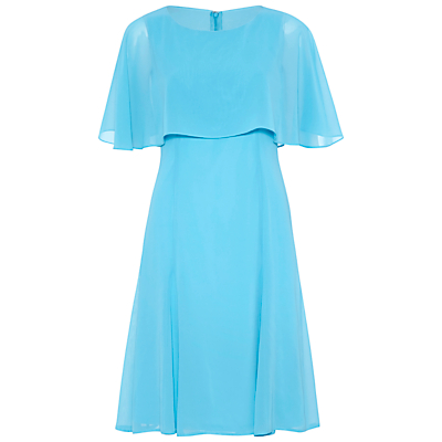Gina Bacconi Chiffon Dress With Cape, Bright Blue