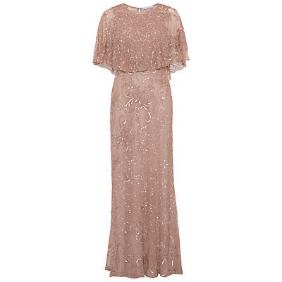 Gina Bacconi Beaded Mesh Dress With Cape, Rose