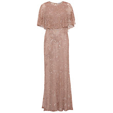 Buy Gina Bacconi Beaded Mesh Dress With Cape, Rose Online at johnlewis.com