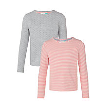 Buy John Lewis Girls' Printed T-Shirt, Pack of 2, Grey/Red Online at johnlewis.com