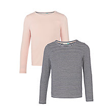 Buy John Lewis Girls' Stripe T-Shirt, Pack of 2, Pink/Navy Online at johnlewis.com