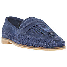 Buy Dune Brighton Pier Woven Suede Slip-On Loafers, Navy Online at johnlewis.com