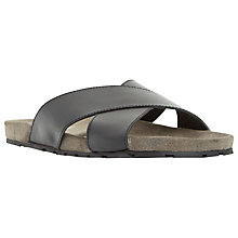 Buy Dune Idris Leather Crossover Strap Sandals, Black Online at johnlewis.com