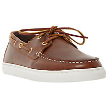 Buy Bertie Butterscotch Leather Boat Shoes, Brown Online at johnlewis.com