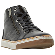 Buy Dune 10 Spectrum Double Side Zip Hi-Top Trainers, Black Online at johnlewis.com
