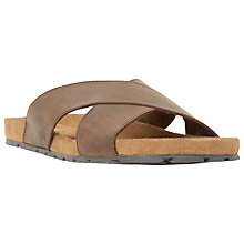 Buy Dune Idris Leather Crossover Strap Sandals, Brown Online at johnlewis.com