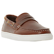 Buy Bertie Bourbon Leather Boat Shoes, Brown Online at johnlewis.com