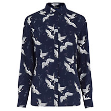 Buy Warehouse Bird Print Blouse, Blue Online at johnlewis.com